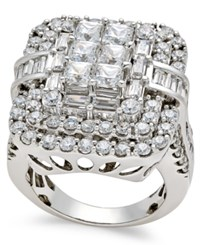 Macy's Diamond Square Cluster Ring 4 Ct. T.W. In 14K White Gold
