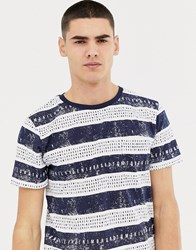 Tom Tailor Letters In Stripe T Shirt In Blue