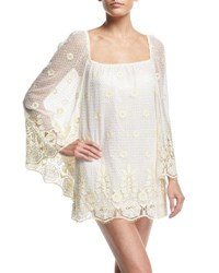 Miguelina Nicolette Sheer Lace Coverup Dress White