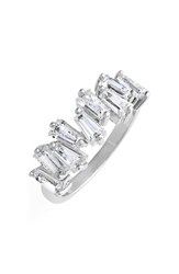 Women's Cz By Kenneth Jay Lane Jagged Baguette Cubic Zirconia Band Ring