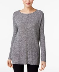Eileen Fisher Boat Neck Sweater Black White