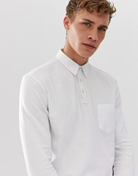 Selected Homme Long Sleeve Polo Shirt With Chest Pocket White