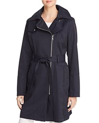 Vince Camuto Asymmetric Front Belted Trench Coat Navy