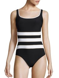 Gottex Swim Regatta Three Way Adjustable Back One Piece Tank Swimsuit Black White Gold