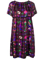 Odeeh Floral Print Flared Dress Purple