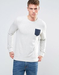 Esprit Sweatshirt With Contrast Pocket In Marl Jersey Off White