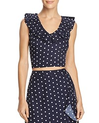 Lucy Paris Ruffled Polka Dot Cropped Top Navy White Dot