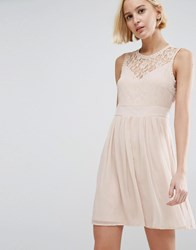 Vero Moda Skater Dress With Lace Panel Rose Dust Pink