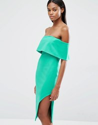 Lavish Alice Deep Bandeau Asymmetric Hem Midi Dress Jade Green