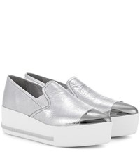 Miu Miu Metallic Leather Platform Sneakers Silver