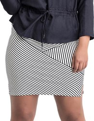 Carmakoma Plus Misam Striped Bodycon Skirt Blue
