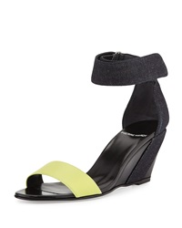 Pierre Hardy Neon Denim And Leather Wedge Sandal 38.5B 8.5B