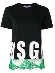 Msgm Lace Trim Logo T Shirt Women Cotton S Black