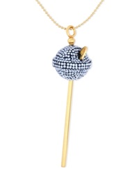 Sis By Simone I Smith 18K Gold Over Sterling Silver Necklace Medium Blue Crystal Lollipop Pendant