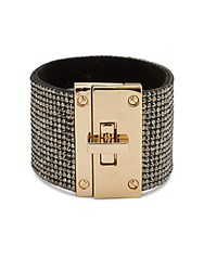Saks Fifth Avenue Beaded Cuff Bracelet Gold Black