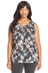 Plus Size Women's Classiques Entier Ruched V Neck Stretch Silk Top Black Blurred Floral Print