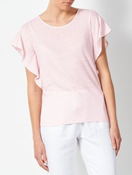 John Lewis Collection Weekend By Frill Side Linen Jersey Top Pink