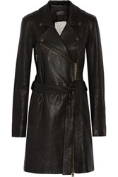 Current Elliott The Long Moto Leather Trench Coat Black