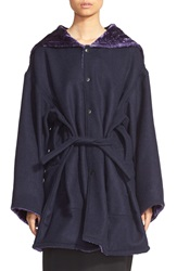And Re Walker Faux Fur Lined Hooded Wool Coat Black And Navy
