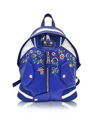 Moschino Blue And White Leather Jacket Backpack