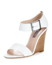 Sarah Jessica Parker Tate Leather Wedge Sandal White