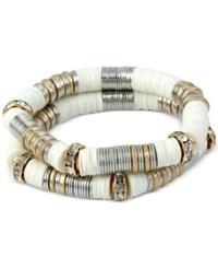 Kenneth Cole New York Two Tone 2 Pc. Set White Roundel And Crystal Stretch Bracelets