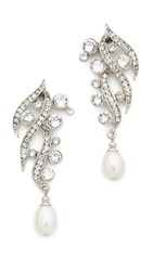 Ben Amun Branch Crystal Drop Earrings Silver Clear