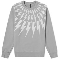Neil Barrett Fair Isle Lightning Bolt Crew Sweat Grey