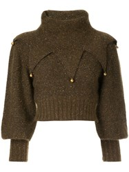 Chanel Vintage Funnel Neck Jumper Brown