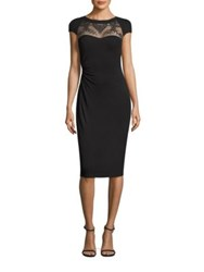 David Meister Mesh Yoke Jersey Dress Black
