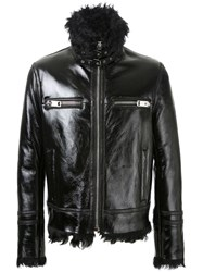 Les Hommes Fur Lining Zipped Jacket Black