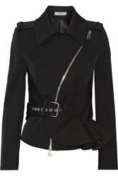 Bouchra Jarrar Ruffled Stretch Wool Blend Twill Jacket Black