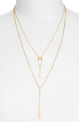 Chan Luu Beaded Double Strand Y Necklace Golden Shadow