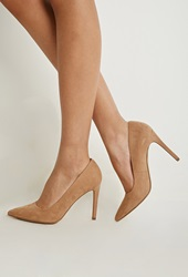 Forever 21 Pointed Faux Suede Pumps Taupe