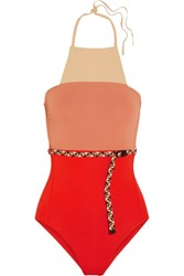 Eres Veronique Leroy Belted Halterneck Swimsuit Bright Orange