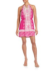 Collective Concepts Printed Fringe Halter Dress Magenta