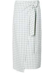 Tibi Elliot Checked Skirt Green