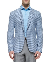 Isaia Gingham Check Blazer Black White