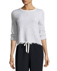 Theory Vendla Tweed Fringe Hem Sweater White Mix