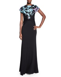 Diane Von Furstenberg Short Sleeve Wool Floral Intarsia Statement Gown Black