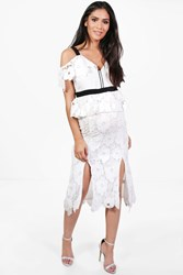 Boohoo Nia Crochet Lace Open Shoulder Midi Dress Ivory