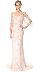 Theia Layla Off The Shoulder Slip Gown Blush
