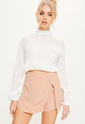 Missguided Nude Ring Detail Overlay Skorts Blush