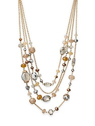 Saks Fifth Avenue Multi Chain Beaded Necklace Gold Multi