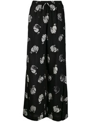 Lanvin Mother And Child Print Palazzo Trousers Black