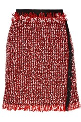 Lanvin Wrap Effect Cotton Blend Tweed Mini Skirt Red