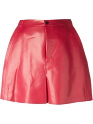 Junya Watanabe Comme Des Garcons Faux Leather Shorts Red