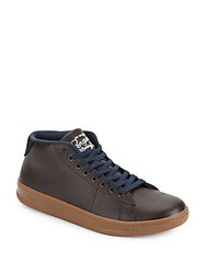 Penguin High Top Leather Sneakers Brown