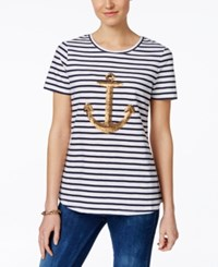 Charter Club Sequin Anchor Striped Tee Only At Macy's Intrepid Blue White