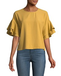 Philosophy Double Tiered Sleeve Crepe Blouse Mustard